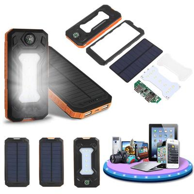 아재몰 해외 직배송 스마트폰 보조배터리 부품_Cewaal Waterproof LED Dual USB Solar Panel Power Bank Case Battery Charger DIY Kit Set
