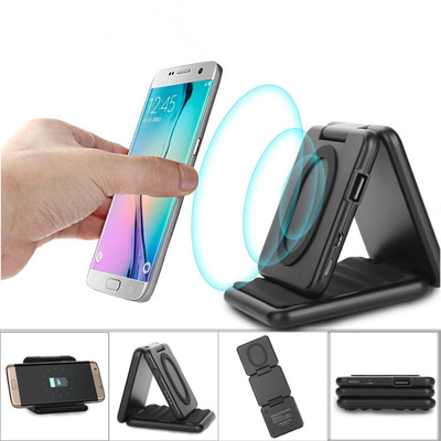 아재몰 해외 직배송 스마트폰 보조배터리_Qi Wireless 5000mAh 5V 2A Fast Charging Power Bank Holder Charger Folding Pad Dock