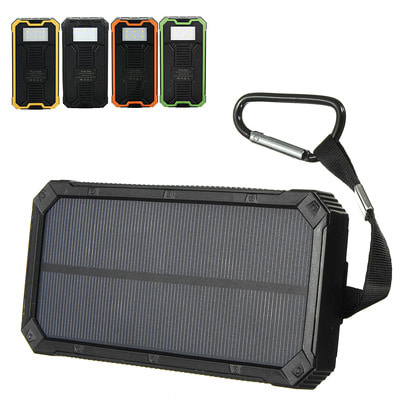 아재몰 해외 직배송 스마트폰 보조배터리_8000mAh Solar Waterproof Portable Charger Dual USB Battery Power Bank