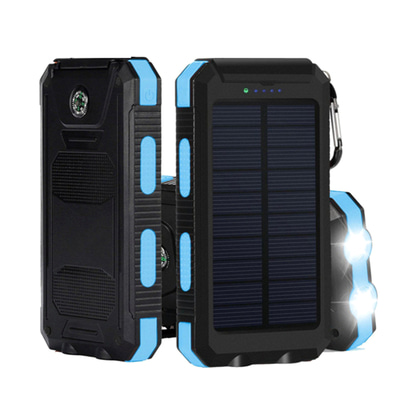 아재몰 해외 직배송 스마트폰 보조배터리 부품_10000mAh Dual USB Solar Energy DIY Power Bank Battery Case With LED Light For iPhone X 8 Oneplus5