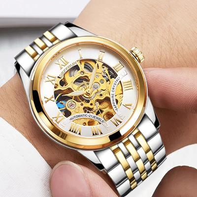 아재몰 기계식 손목시계_DEFFRUN DM0001 Roman Number 3D Dial Case Men Watch Stainless Steel Strap Automatic Mechanical Watch