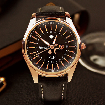 아재몰 아재 일반 손목시계_YAZOLE YD368 Sun and Moon 24 Hours Pointer Creative Watch PU Leather Men Watch