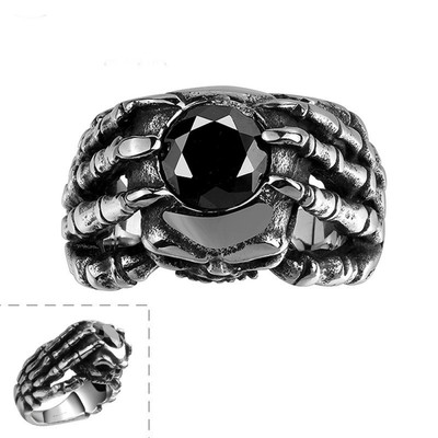 아재몰 아재 반지_Vintage Punk 361L Steel Skull Head Claw Ring Men Jewelry