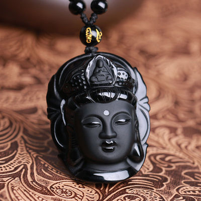 아재몰 아재 목걸이_Natural Black Obsidian Kwan-yin Pendant Charm Necklace Lucky Jewelry Collocation Clothing