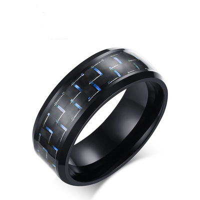 아재몰 아재 반지_8mm Stainless Steel Carbon Fiber Polished Men Ring Simple Trendy