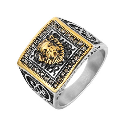 아재몰 아재 반지_REZEX Vintage Diamond Lion Head Mens Stainless Ring With Case