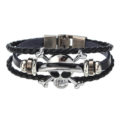 아재몰 아재 팔찌_Unisex Punk Rock Skull Leather Bracelet Multilayer Bangle Wristband Halloween Gift