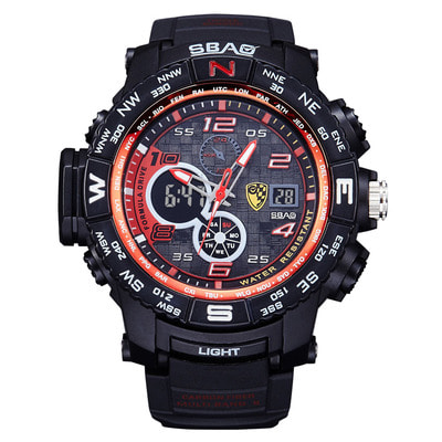 아재몰 디지털 손목시계_SBAO S8006-2 Dual Display Digital Watch Multifunction Men Fashion Back Light Alarm Sport Watch