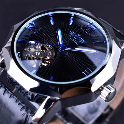 아재몰 기계식 손목시계_GMT964 Automatic Mechanical Watch Transparent Skeleton Dial Men Watch