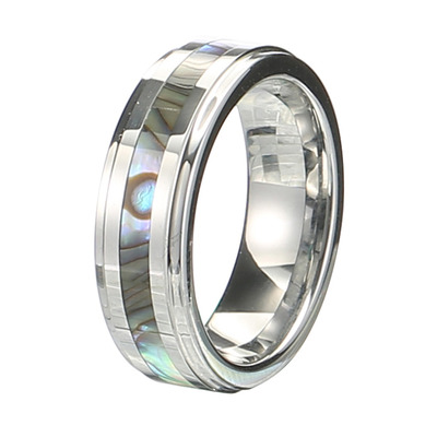 아재몰 아재 반지_Classic 6mm Tungsten Carbide Ring Shell Tungsten Steel Colorfast Anallergic Rings for Men Women