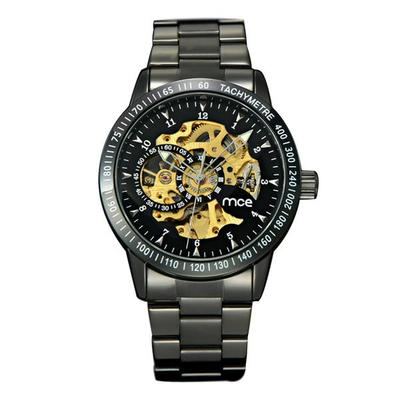 아재몰 기계식 손목시계_MCE 60210 Cool Business Man Black Stainless Steel Automatic Mechanical Wrist Watch