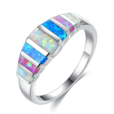 아재몰 아재 반지_Unisex Trendy Colorful Opal Finger Rings Fashion Silver Color Casual Ring Popular Wedding Rings