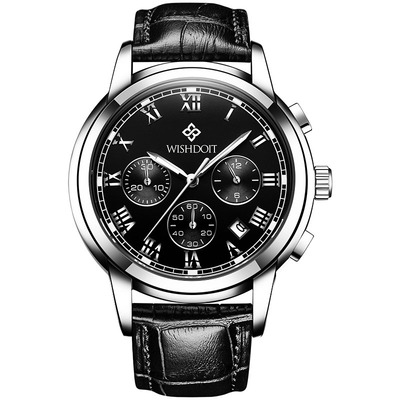 아재몰 아재 일반 손목시계_WISHDOIT WSD-016 Men Watch Fashion Chronograph Leather Strap Wrist Watch