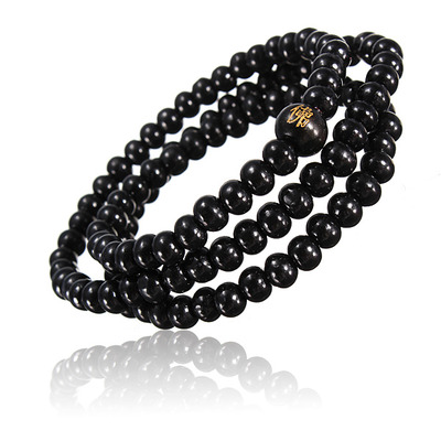 아재몰 아재 팔찌_Retro Buddhist Buddha Multi Chain Black Bead Bracelet Necklace for Men
