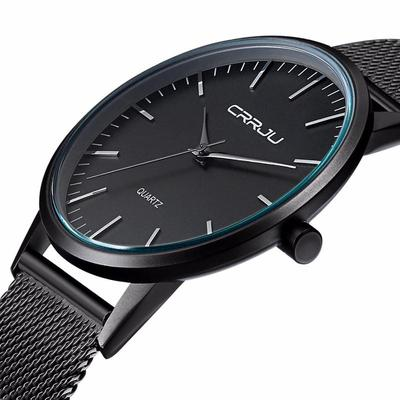 아재몰 아재 일반 손목시계_CRRJU 2117 Luxury Men Quartz Watch Fashion Ultra Thin Wristwatch