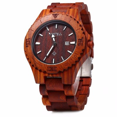 아재몰 디자인 손목시계_BEWELL ZS-W023B Male Wooden Quartz Watch Auto Date Display Casual Wristwatch