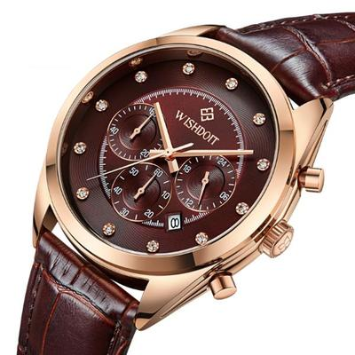 아재몰 디자인 손목시계_WISHDOIT WSD-006 Fashion Men Quartz Watch Luxury Leather Strap Waterproof Wrist Watch
