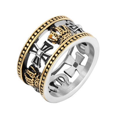 아재몰 아재 반지_REZEX 13mm Vintage Personality Ring Crown Cross Mens Stainless Steel Finger Rings With Case