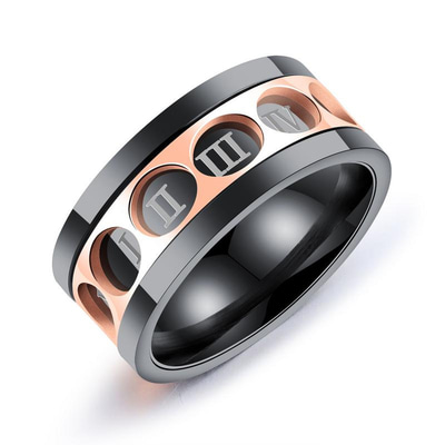 아재몰 아재 반지_Trendy Stainless Steel Finger Ring Twelve Rome Digital Rotatable Ring for Men