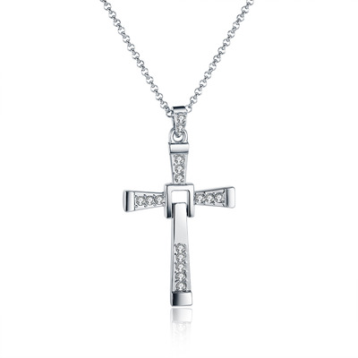 아재몰 아재 목걸이_Men Cross Pendant Chain Long Necklace Crystal Alloy