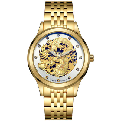 아재몰 기계식 손목시계_TEVISE 9006 Mechanical Watch Men Women Hollow Dragon Phoenix Pattern Watch Stainless Steel Watch