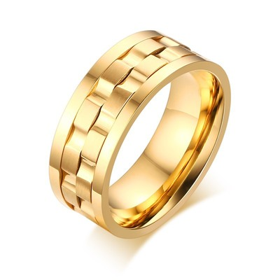 아재몰 아재 반지_Trendy Golden Gear Ring Rotatable Silver Color Stainless Steel Rings for Men