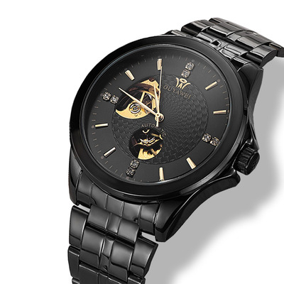 아재몰 기계식 손목시계_OUYAWEI 1415 Business Style Automatic Mechanical Watches Stainless Steel Strap Men Watch