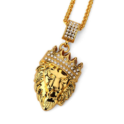 아재몰 아재 목걸이_Hip Hop Fashion Gold Chain King Crown Lion Head Pendant Necklace for Men