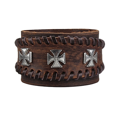 아재몰 아재 팔찌_Punk Adjustable Zinc Alloy Cross Double Genuine Leather Bracelet for Men