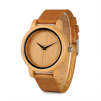 아재몰 디자인 손목시계_BOBO BIRD WA09A10 Wooden Watch Genuine Leather Strap Natural Quartz Watch