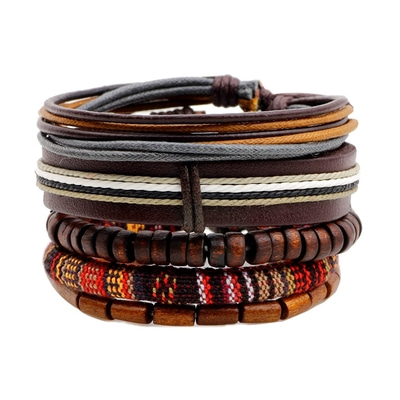 아재몰 아재 팔찌_Retro Multilayer Wood Bead Bracelet Pendant Braided Leather Adjustable for Men