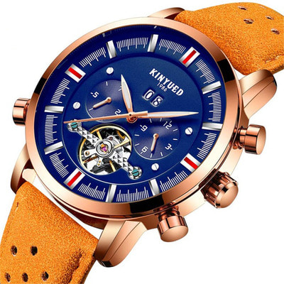 아재몰 기계식 손목시계_KINYUED JYD-J019 Blue Dial Case Calendar Automatic Mechanical Watch Leather Men Watches