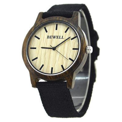 아재몰 디자인 손목시계_BEWELL ZS-W134A Wooden Watch Casual Style Canvas Band Quartz Wrist Watch