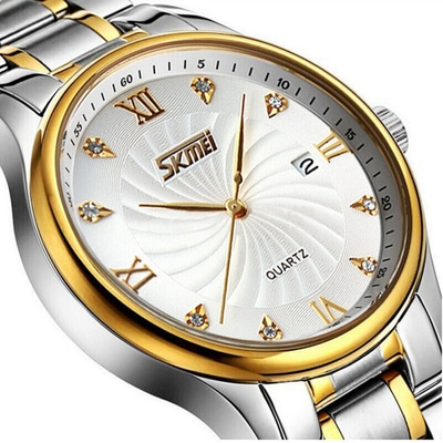 아재몰 아재 일반 손목시계_SKMEI 9101 Business Style Men Wrist Watch Full Steel Calendar Crystal Quartz Watch