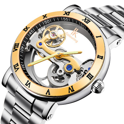 아재몰 기계식 손목시계_IK COLOURING 98399 Business Style Men Wrist Watch Stainless Steel Strap Automatic Mechanical Watches