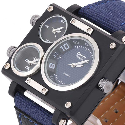 아재몰 디자인 손목시계_OULM 3595 Men Watch Fashion Three Time Zones Alloy Case Textile Watch Band Quartz Watch
