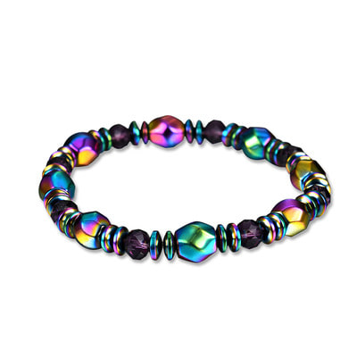 아재몰 아재 팔찌_Unisex Colorful Healing Magnet Stone Bracelet Artificial Crystal Chain Healthy Jewelry