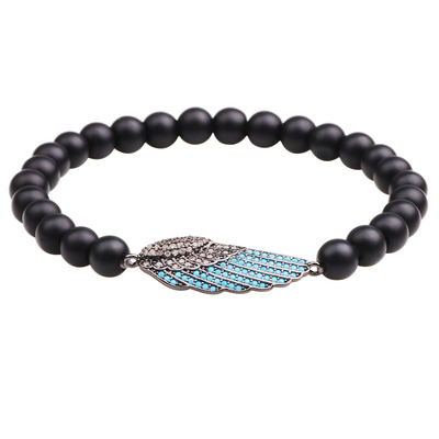 아재몰 아재 팔찌_Trendy Tiger Eye Turquoise Beaded Bracelet Rhinestone Micro Inlay Wing Charm Bracelet for Men