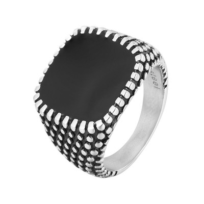 아재몰 아재 반지_REZEX Retro Drops Ring Polka Dot Square Mens Stainless Steel Ring Men Jewlery With Case