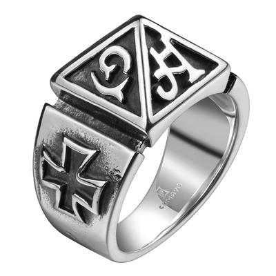 아재몰 아재 반지_Vintage Cross Mens Ring Mystery Words Titanium Steel Finger Rings