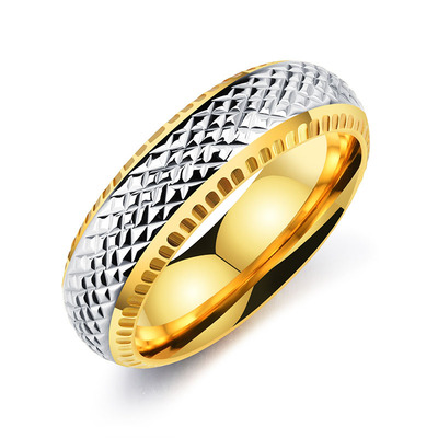아재몰 아재 반지_Punk Gold Color Stainless Steel Finger Ring Hip Hop Black Geometry Ring for Men