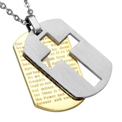 아재몰 아재 목걸이_Classic Cross Pendant Necklace Stainless Steel Hang Tag Chain Necklace for Men