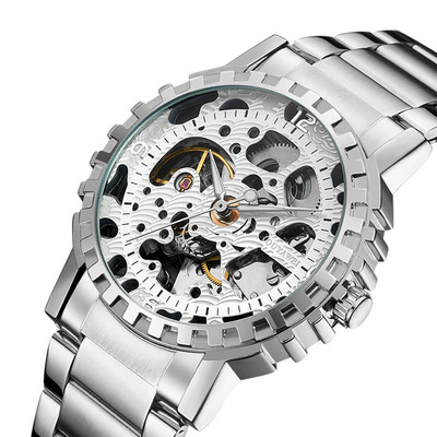 아재몰 기계식 손목시계_OUYAWEI YW1401_B Self-Wind Mechanical Watch Stainless Steel Strap Men Wrist Watches