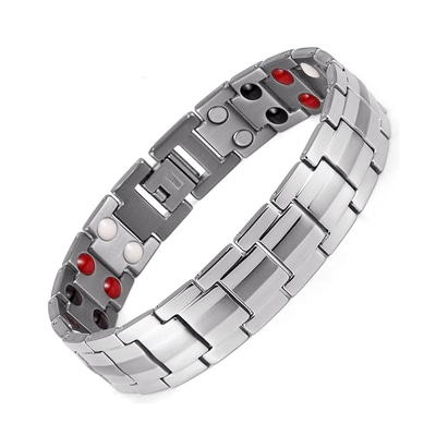 아재몰 아재 팔찌_Punk Men Stainless Steel 4 in 1 Silver Strong Magnetic Therapy Bracelet Healing Jewelry