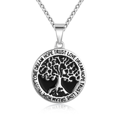 아재몰 아재 목걸이_REZEX Fashion Titanium Steel Necklace Wishing Tree Pendant Tree of Life Mens Gift With Case