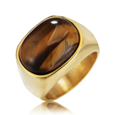 아재몰 아재 반지_REZEX Retro Tiger Eye Stone Finger Rings Mens Titanium Steel Ring