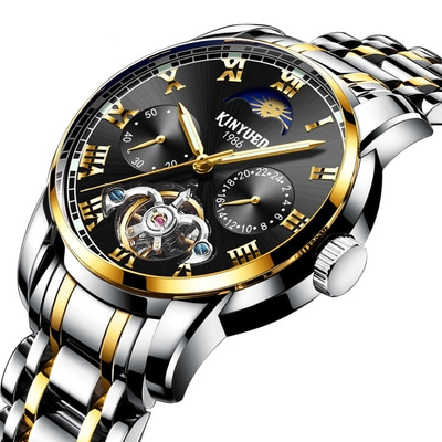 아재몰 기계식 손목시계_KINYUED JYD-J028 All Steel Band Automatic Mechanical Watch Business Style Men Wrist Watch