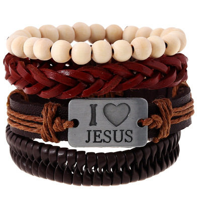 아재몰 아재 팔찌_Religious I Love Jesus Bracelet Cowhide Multilayer Wristband White Wood Bead Bracelet for Men