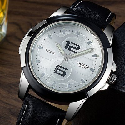 아재몰 아재 일반 손목시계_YAZOLE 418 Men Watch Luxury Luminous Leather Strap Fashion Sport Quartz Wrist Watch