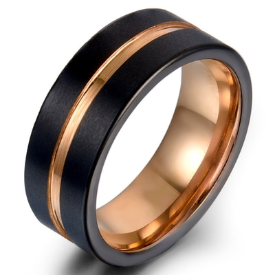 아재몰 아재 반지_Classic 8mm Tungsten Carbide Ring Rose Gold Black Colorfast Anallergic Engagement Rings for Men